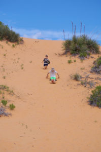 Sledding at Coral Pink Sand Dunes